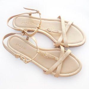 J. Crew gold metallic sandals size 9.5 flats strap